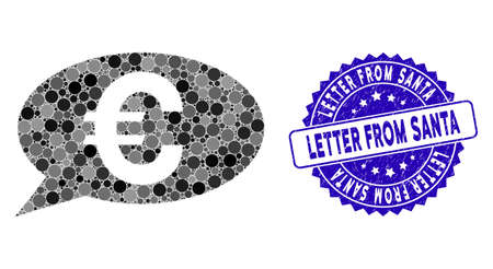 Mosaic Euro message icon and corroded stamp seal with Letter from Santa phrase. Mosaic vector is formed from Euro message icon and with randomized round items.