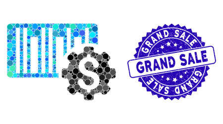 Mosaic barcode price setup gear icon and distressed stamp seal with Grand Sale text. Mosaic vector is designed with barcode price setup gear pictogram and with randomized spheric spots.