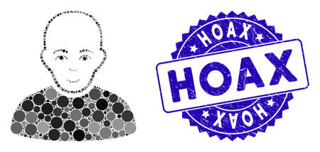 Mosaic bald man icon and distressed stamp watermark with Hoax caption. Mosaic vector is formed with bald man icon and with scattered spheric items. Hoax stamp uses blue color, and rubber design.