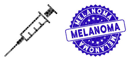 Mosaic empty syringe icon and rubber stamp seal with Melanoma text. Mosaic vector is composed with empty syringe icon and with randomized circle items. Melanoma stamp seal uses blue color,