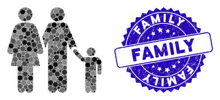 Mosaic family icon and grunge stamp seal with Family text. Mosaic vector is designed with family icon and with scattered spheric elements. Family stamp seal uses blue color, and rubber design.
