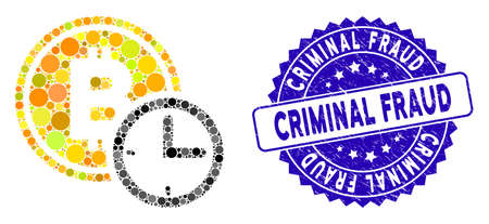 Mosaic Bitcoin credit time icon and grunge stamp watermark with Criminal Fraud phrase. Mosaic vector is formed with Bitcoin credit time icon and with randomized round items.