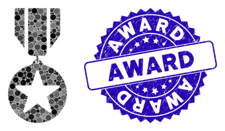 Mosaic award icon and grunge stamp seal with Award phrase. Mosaic vector is created with award pictogram and with randomized round elements. Award stamp seal uses blue color, and dirty surface.