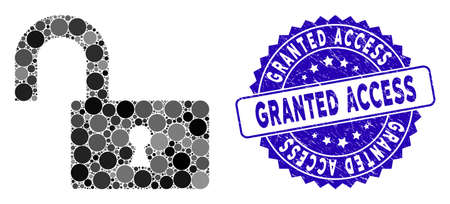 Mosaic open lock icon and rubber stamp watermark with Granted Access text. Mosaic vector is created with open lock pictogram and with randomized spheric items.