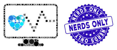 Mosaic cardio monitoring icon and distressed stamp seal with Nerds Only text. Mosaic vector is designed with cardio monitoring icon and with random spheric elements. Nerds Only stamp uses blue color, Illustration