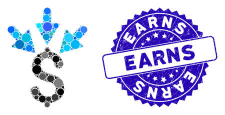 Mosaic aggregate payment icon and rubber stamp seal with Earns phrase. Mosaic vector is created with aggregate payment icon and with scattered spheric spots. Earns seal uses blue color,