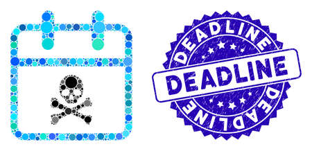 Collage skull deadline day icon and grunge stamp seal with Deadline phrase. Mosaic vector is composed with skull deadline day icon and with random round spots. Deadline stamp seal uses blue color,