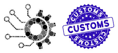 Mosaic digital mechanics icon and grunge stamp seal with Customs caption. Mosaic vector is designed with digital mechanics icon and with random round items. Customs stamp uses blue color,