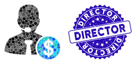 Mosaic bank call center icon and rubber stamp watermark with Director text. Mosaic vector is composed with bank call center icon and with scattered circle spots. Director stamp uses blue color,