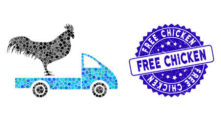 Mosaic chicken transport car icon and corroded stamp watermark with Free Chicken phrase. Mosaic vector is created with chicken transport car icon and with random round elements. Vettoriali
