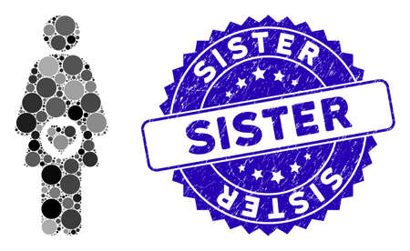 Mosaic pregnant woman icon and grunge stamp seal with Sister phrase. Mosaic vector is composed with pregnant woman icon and with scattered circle elements. Sister stamp seal uses blue color,