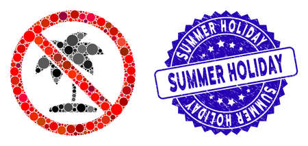 Mosaic no tropic palm icon and rubber stamp seal with Summer Holiday phrase. Mosaic vector is formed with no tropic palm icon and with randomized circle spots. Ilustração