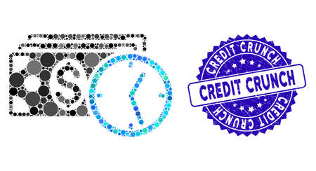 Collage credit icon and grunge stamp seal with Credit Crunch caption. Mosaic vector is created with credit icon and with random circle items. Credit Crunch stamp seal uses blue color,