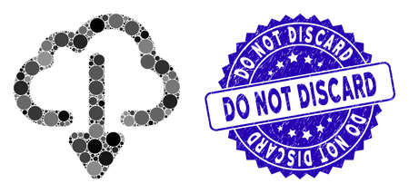 Collage cloud download icon and distressed stamp seal with Do Not Discard phrase. Mosaic vector is formed with cloud download icon and with scattered spheric spots.