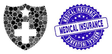 Icono de escudo de seguro médico de mosaico y sello de sello corroído con leyenda de seguro médico. El vector de mosaico se forma con el icono de escudo de seguro médico y con elementos esféricos aleatorizados. Ilustración de vector