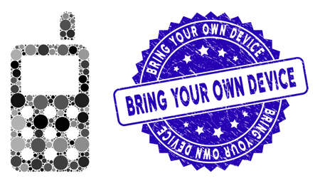 Mosaic cell phone icon and rubber stamp seal with Bring Your Own Device caption. Mosaic vector is designed with cell phone icon and with scattered circle items.