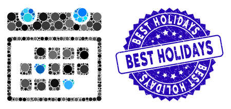 Mosaic favourite days icon and grunge stamp seal with Best Holidays text. Mosaic vector is formed with favourite days pictogram and with scattered round elements.