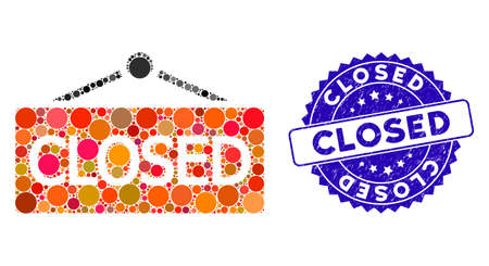 Mosaic closed announce icon and corroded stamp watermark with Closed caption. Mosaic vector is designed with closed announce icon and with randomized spheric items. Closed stamp uses blue color, Illustration