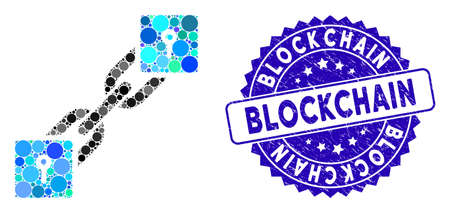 Mosaic locker blockchain icon and distressed stamp seal with Blockchain phrase. Mosaic vector is formed with locker blockchain icon and with random circle spots. Blockchain stamp uses blue color,