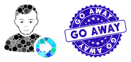Mosaic following user icon and distressed stamp seal with Go Away caption. Mosaic vector is created from following user icon and with randomized circle spots. Go Away stamp seal uses blue color, Illustration