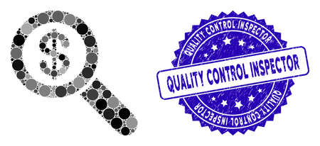Mosaic financial audit loupe icon and rubber stamp watermark with Quality Control Inspector caption. Mosaic vector is designed with financial audit loupe icon and with random spheric spots.