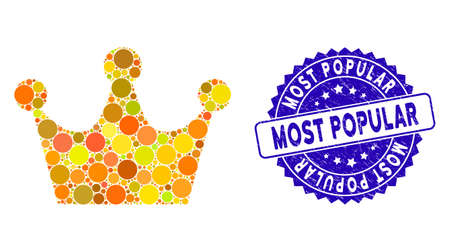 Collage gold crown icon and corroded stamp seal with Most Popular phrase. Mosaic vector is formed with gold crown icon and with random circle spots. Most Popular stamp seal uses blue color,