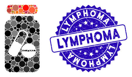Mosaic drugs phial icon and rubber stamp watermark with Lymphoma caption. Mosaic vector is designed with drugs phial icon and with random circle spots. Lymphoma stamp uses blue color,