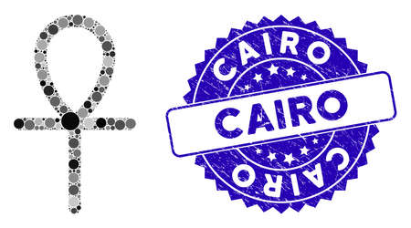 Mosaic life key icon and corroded stamp seal with Cairo text. Mosaic vector is formed with life key pictogram and with randomized spheric spots. Cairo stamp seal uses blue color, and grunged surface.
