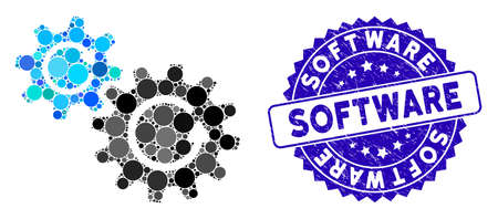 Collage cogs rotation icon and corroded stamp seal with Software caption. Mosaic vector is composed with cogs rotation icon and with scattered spheric elements. Software seal uses blue color,