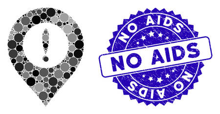 Mosaic caution marker icon and grunge stamp seal with No AIDS caption. Mosaic vector is formed from caution marker icon and with random circle items. No AIDS stamp seal uses blue color, Stock Illustratie
