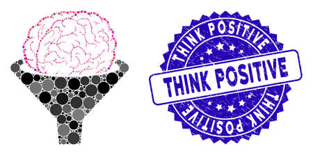 Collage brain filter icon and distressed stamp seal with Think Positive caption. Mosaic vector is composed with brain filter icon and with random round items.