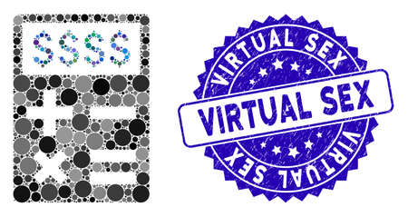 Collage business calculator icon and grunge stamp seal with Virtual Sex text. Mosaic vector is composed with business calculator icon and with scattered circle items.