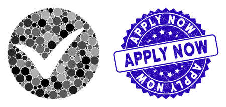 Mosaic apply icon and grunge stamp seal with Apply Now phrase. Mosaic vector is designed from apply icon and with random spheric spots. Apply Now stamp seal uses blue color, and dirty design. Vecteurs