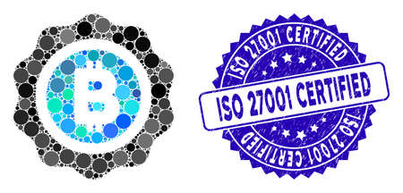 Mosaic Bitcoin seal icon and grunge stamp seal with ISO 27001 Certified caption. Mosaic vector is formed from Bitcoin seal icon and with randomized spheric items. Illusztráció