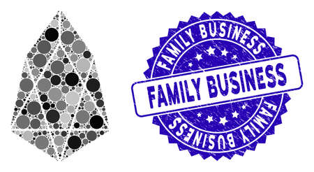 Collage eos currency icon and rubber stamp seal with Family Business caption. Mosaic vector is designed with eos currency icon and with random circle spots. Family Business stamp seal uses blue color, Illusztráció