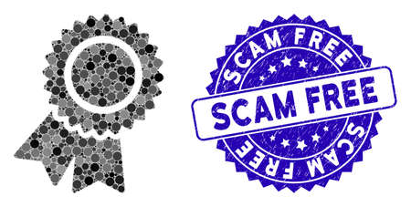 Collage certification seal icon and corroded stamp seal with Scam Free text. Mosaic vector is composed with certification seal icon and with random circle items. Scam Free stamp seal uses blue color,