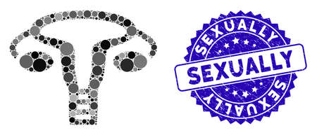 Mosaic vagina icon and distressed stamp watermark with Sexually phrase. Mosaic vector is designed with vagina icon and with randomized round items. Sexually stamp seal uses blue color, Ilustração
