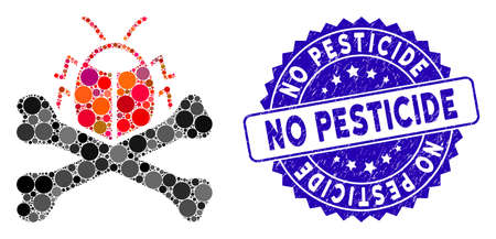 Mosaic pesticide icon and grunge stamp watermark with No Pesticide phrase. Mosaic vector is formed with pesticide icon and with random spheric spots. No Pesticide stamp seal uses blue color,