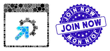 Mosaic gear integration calendar page icon and rubber stamp watermark with Join Now caption. Mosaic vector is composed with gear integration calendar page pictogram and with random circle elements.