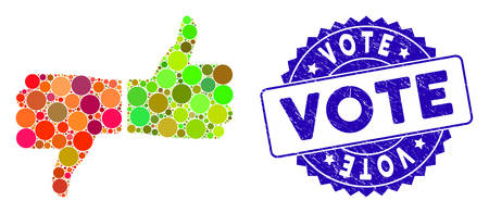 Mosaic vote thumbs icon and rubber stamp watermark with Vote text. Mosaic vector is designed with vote thumbs icon and with scattered spheric elements. Vote stamp uses blue color, and grunge design. Illusztráció