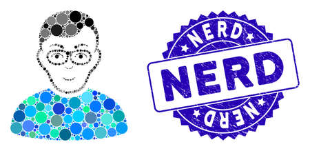 Mosaic nerd man icon and grunge stamp seal with Nerd phrase. Mosaic vector is formed from nerd man icon and with random round items. Nerd stamp seal uses blue color, and distress design. Illustration