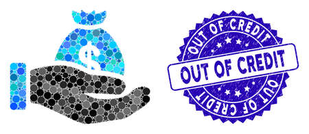Mosaic payment hand icon and grunge stamp seal with Out of Credit caption. Mosaic vector is designed with payment hand icon and with randomized round spots. Out of Credit stamp uses blue color, Illusztráció