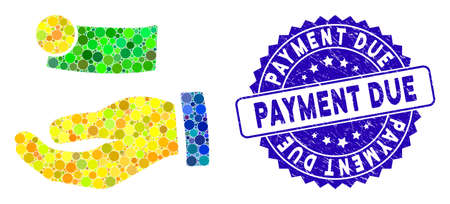 Mosaic payment icon and corroded stamp seal with Payment Due text. Mosaic vector is composed with payment icon and with random spheric elements. Payment Due seal uses blue color, and grunge texture.