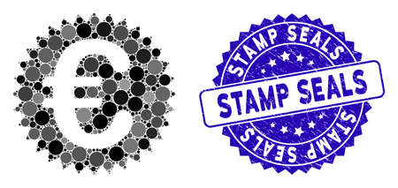Mosaic Euro warranty stamp icon and rubber stamp watermark with Stamp Seals text. Mosaic vector is formed with Euro warranty stamp icon and with random circle items. Stamp Seals stamp uses blue color,