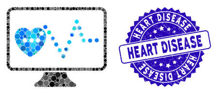 Mosaic cardio monitoring icon and rubber stamp seal with Heart Disease caption. Mosaic vector is designed with cardio monitoring icon and with random round elements. Illusztráció
