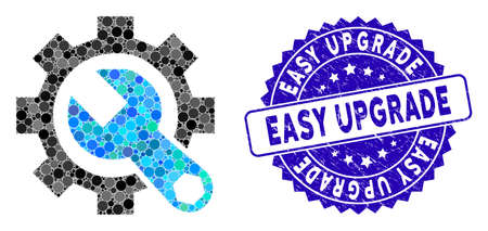 Mosaic service tools icon and rubber stamp seal with Easy Upgrade caption. Mosaic vector is designed with service tools pictogram and with randomized round spots. Easy Upgrade seal uses blue color, Illusztráció