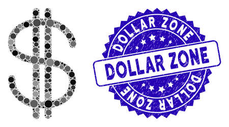 Mosaic dollar icon and corroded stamp watermark with Dollar Zone phrase. Mosaic vector is created with dollar icon and with randomized round spots. Dollar Zone stamp seal uses blue color,