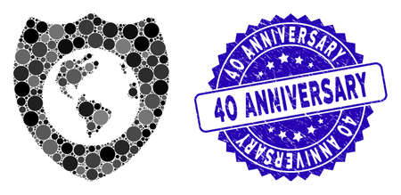 Mosaic Earth shield icon and rubber stamp seal with 40 Anniversary text. Mosaic vector is created with Earth shield icon and with scattered circle items. 40 Anniversary stamp seal uses blue color, Illusztráció
