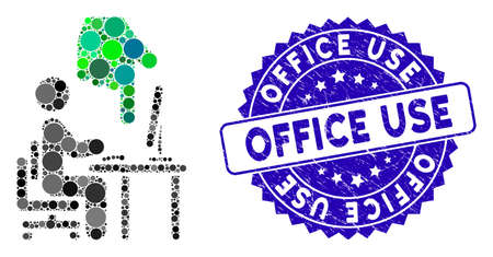 Mosaic office use icon and grunge stamp watermark with Office Use text. Mosaic vector is created with office use icon and with scattered circle spots. Office Use stamp uses blue color, Illusztráció