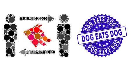 Mosaic men dog exchange icon and grunge stamp seal with Dog Eats Dog caption. Mosaic vector is composed with men dog exchange pictogram and with scattered round spots. Illusztráció